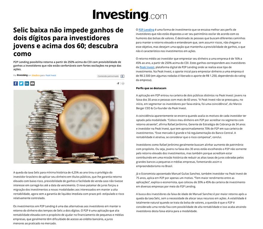 Peak Invest - Investing Selic Baixa
